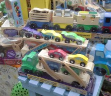 Wooden cars and trucks in our children's toy department