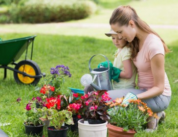 Let your child plant up a basket or bowl of flowers as a Mother's Day Gift