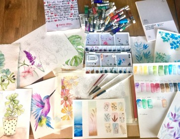 Watercolour painting class for beginners.